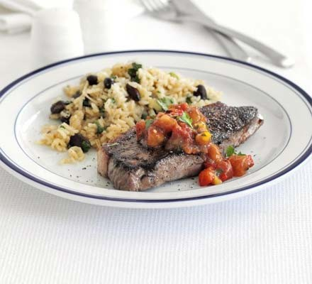 Steak with spiced rice & beans