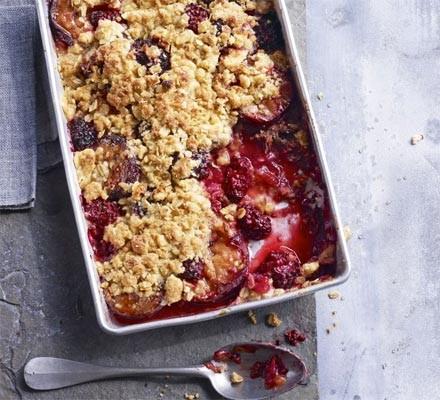 Spiced plum & blackberry crumble