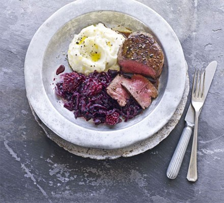 Blackberry braised red cabbage with venison