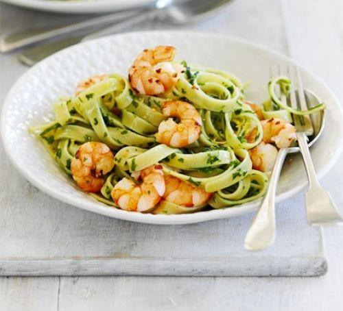 Spaghetti with gremolata and prawns