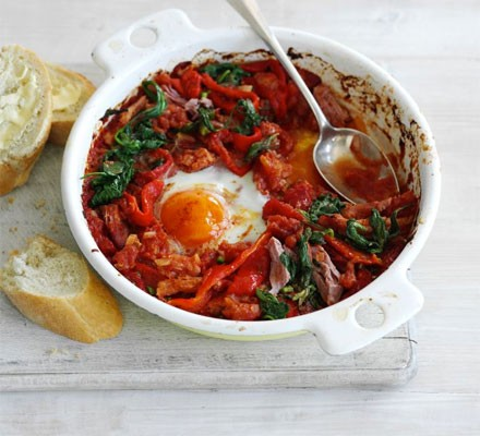 Baked eggs with ham & spinach