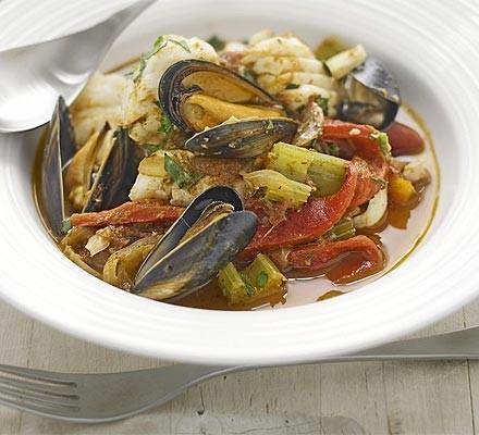Rich paprika seafood bowl