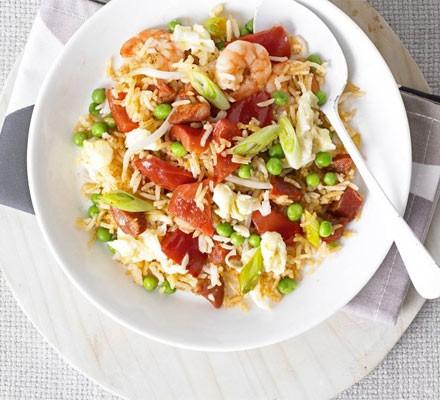 Special fried rice with prawns & chorizo