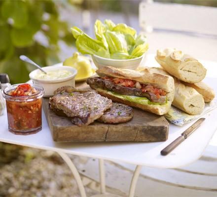 Sirloin steak sandwiches with smoky relish