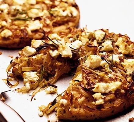 Caramelised onion & feta pizzas