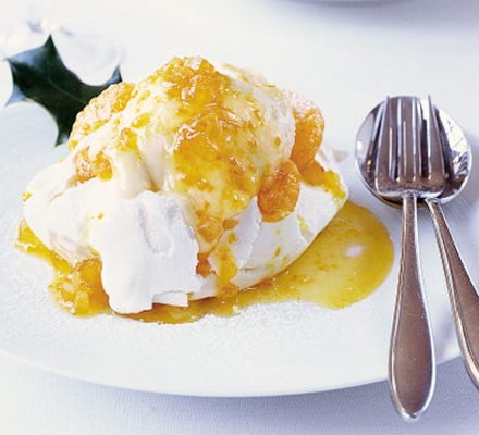 Tangerine curd ice cream with marshmallow meringues