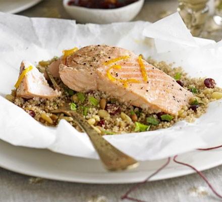 Salmon, cranberry & couscous parcels