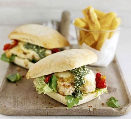 Italian-style chicken burger & chips