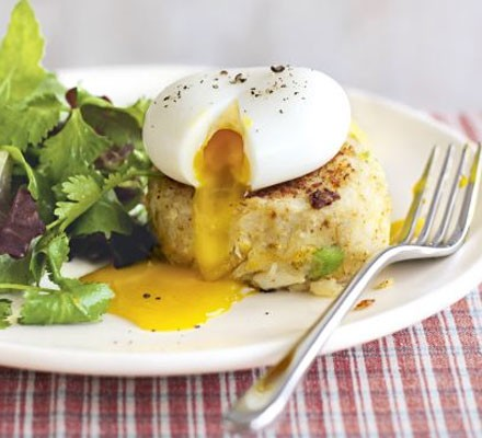 Spicy smoked fish cakes with herb salad & eggs