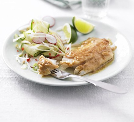 Miso pollock with cucumber & spring onion salad