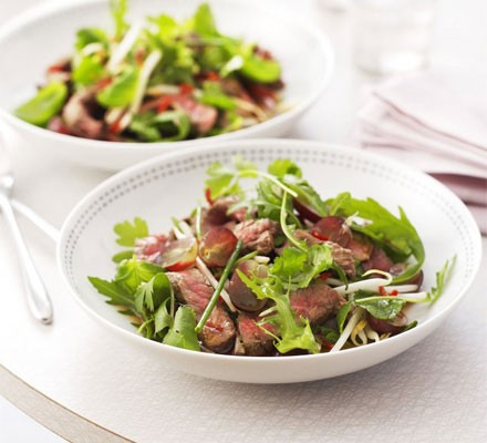 Thai beef salad in a bowl