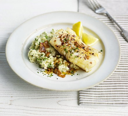 Sticky cod with celeriac & parsley mash