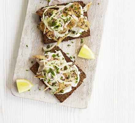 Open mackerel sandwich with fennel slaw