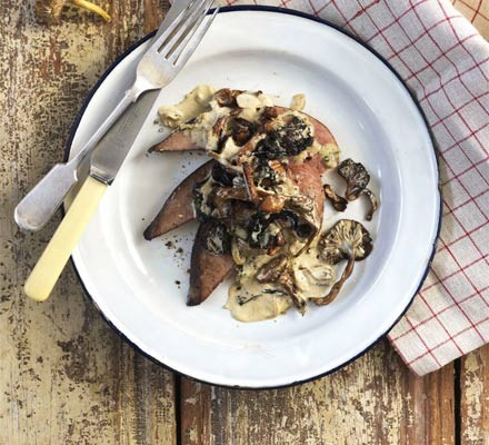 Liver with wild mushrooms