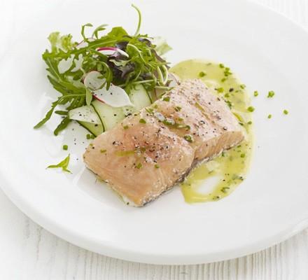 Tea-smoked salmon with herb mayonnaise