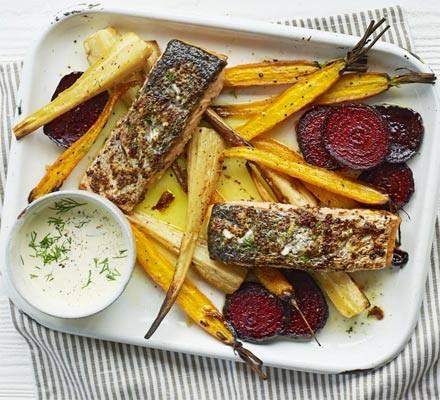 Mustard salmon & veg bake with horseradish sauce