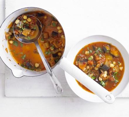 Spicy harissa, aubergine & chickpea soup