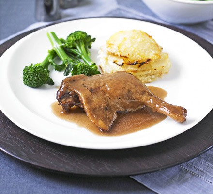Slow-cooked duck legs in Port with celeriac gratin