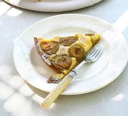 Greengage & vanilla tart