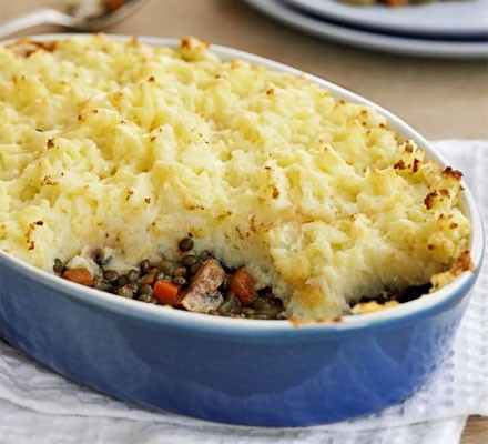 Vegetarian shepherd's pie with slice taken out