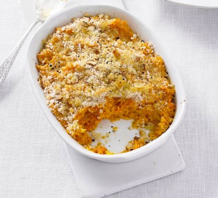 Baked carrot & sweet potato mash