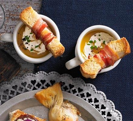 Butternut soup shots with crispy pancetta soldiers