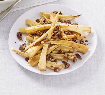 Sticky maple-glazed parsnips with pecans