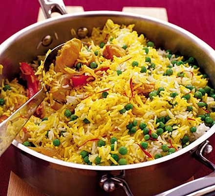 Saffron Rice With Chicken Peppers Recipe Bbc Good Food