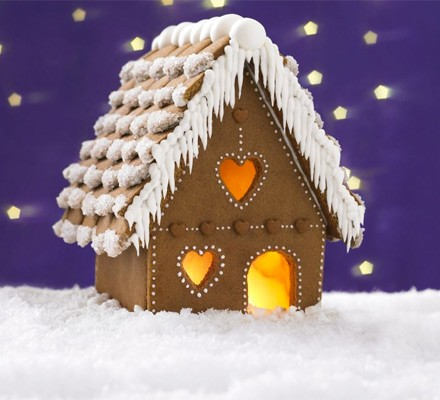 Homemade gingerbread cottage