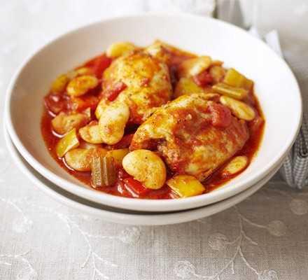 Chicken, butter bean & pepper stew