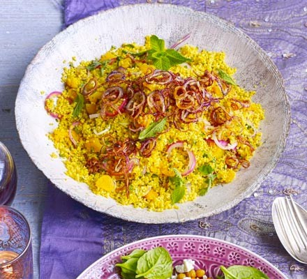 Golden couscous with apricots & crispy onions