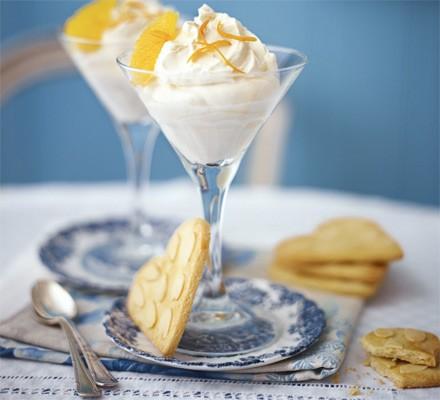 Citrus burst syllabub with almond heart cookies