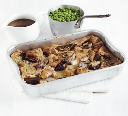 Root veg & pancetta toad-in-the-hole with onion gravy