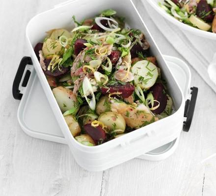Mackerel & potato salad with lemon caraway dressing