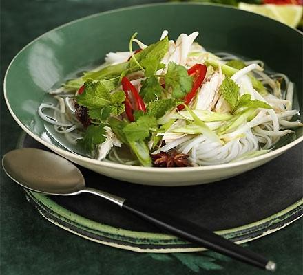 Asian noodle & turkey soup