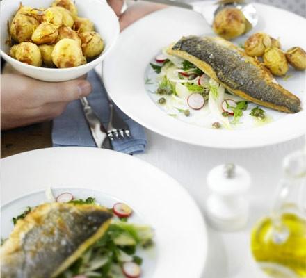Crisp sea bass with minted fennel & radish salad