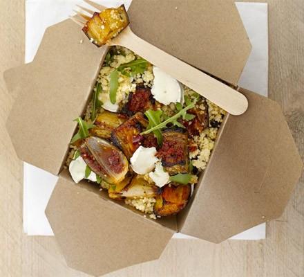 Harissa veg, goat's cheese & couscous salad