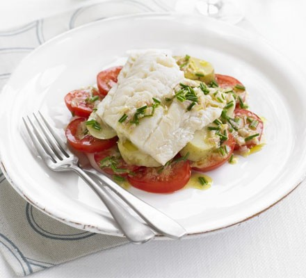 Smoked haddock with tomatoes & chive dressing