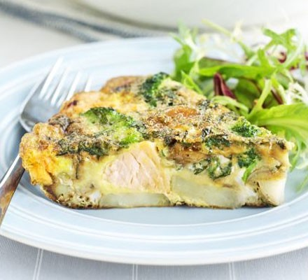 Minty salmon & broccoli frittata
