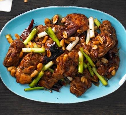 Gunpowder chicken with dried red chillies & peanuts