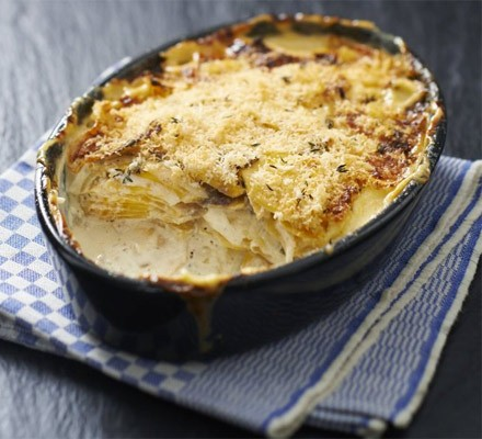 Swede dauphinoise in a baking dish