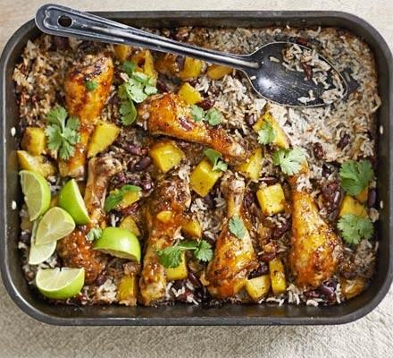 Mango chicken, bean & rice bake