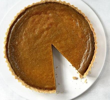 Classic pumpkin pie with pecan & maple cream