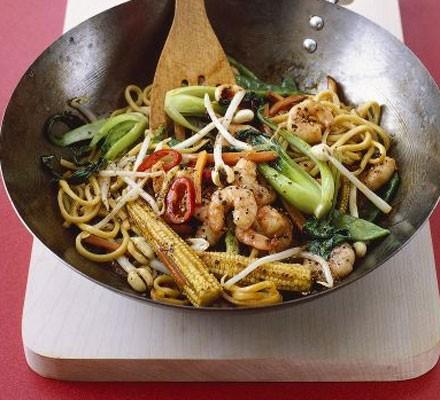 Peppery prawn noodles