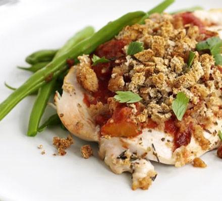 Tomato & crispy crumb chicken