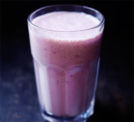 Cherry soya yogurt smoothie in a glass