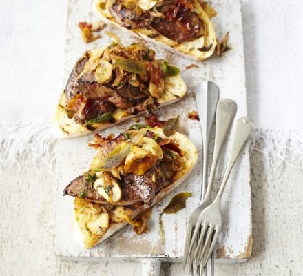 Sage & thyme calves' liver with wild mushrooms & pancetta