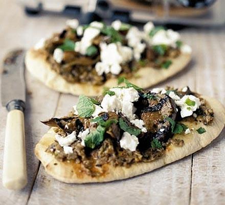 Fast feta & aubergine pizzas