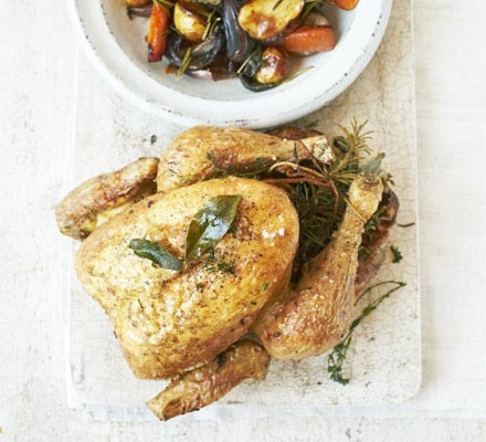 Herby slow-roast chicken