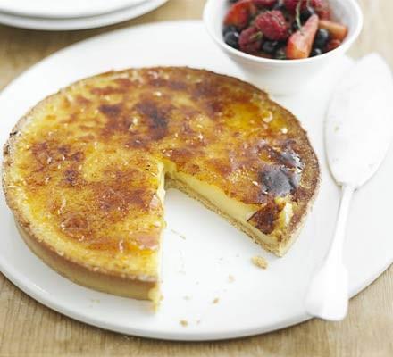 Lemon tart with summer berries